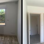 rénovation maison sol pvc effet bois fenêtre placard peinture bleu canard Arradon