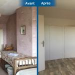 rénovation maison chambre revêtement mural peinture placard sol PVC effet bois Arradon