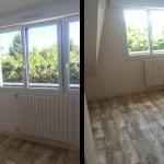 rénovation maison chambre sol PVC bois fenêtre menuiserie peinture Arradon