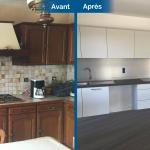 rénovation maison cuisine aménagée moderne gris four placard tiroir rangement évier table Arradon