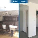 rénovation maison salon pièce de vie placoplatre peinture carrelage gris foncé plinthes Arradon