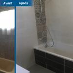 rénovation maison salle de bain remplacement baignoire faïence mosaïque fenêtre radiateur Arradon