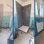rénovation salle de bain avant après cabine de douche parquet faïence meuble vasque suspendu miroir éclairé peinture Saint-André-lez-Lille
