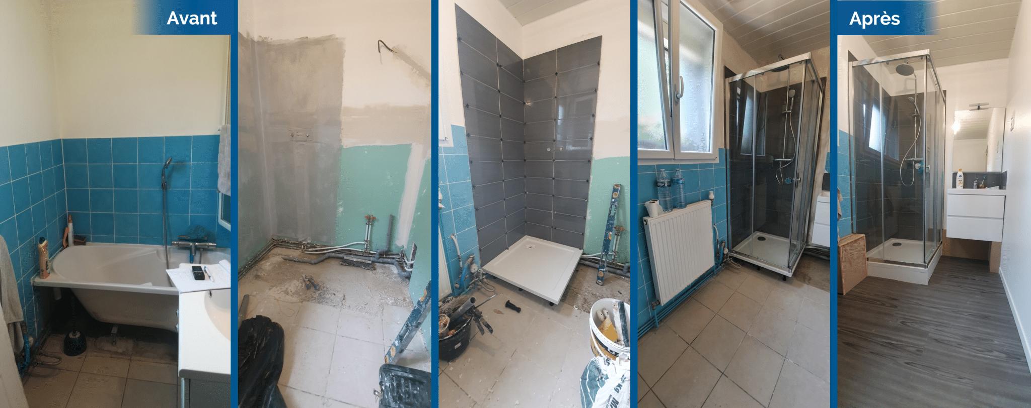 Avant/Après d'une rénovation de salle de bain à Saint-André-lez-Lille (59)