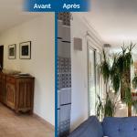 aménagement intérieur avant après rénover séjour parquet bois cuisine scandinave ouverte peinture vert de gris Sauveterre