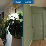 aménagement intérieur avant après rénover séjour salon parquet bois peinture menuiserie baie-vitrée Sauveterre