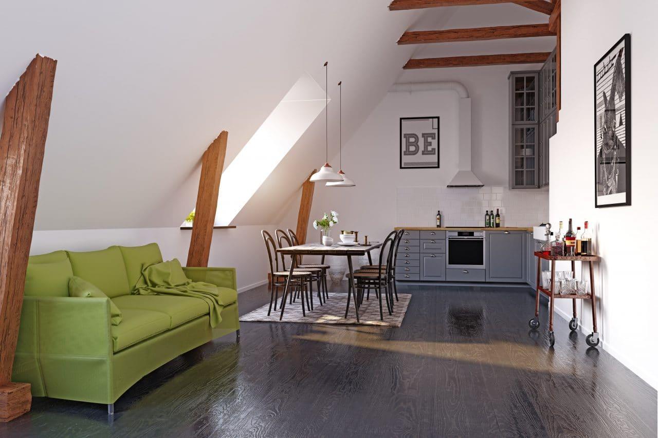 extension maison Lorient : séjour sous les combles