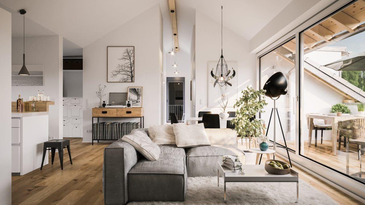 extension maison Bourg-en-Bresse : séjour sous combles