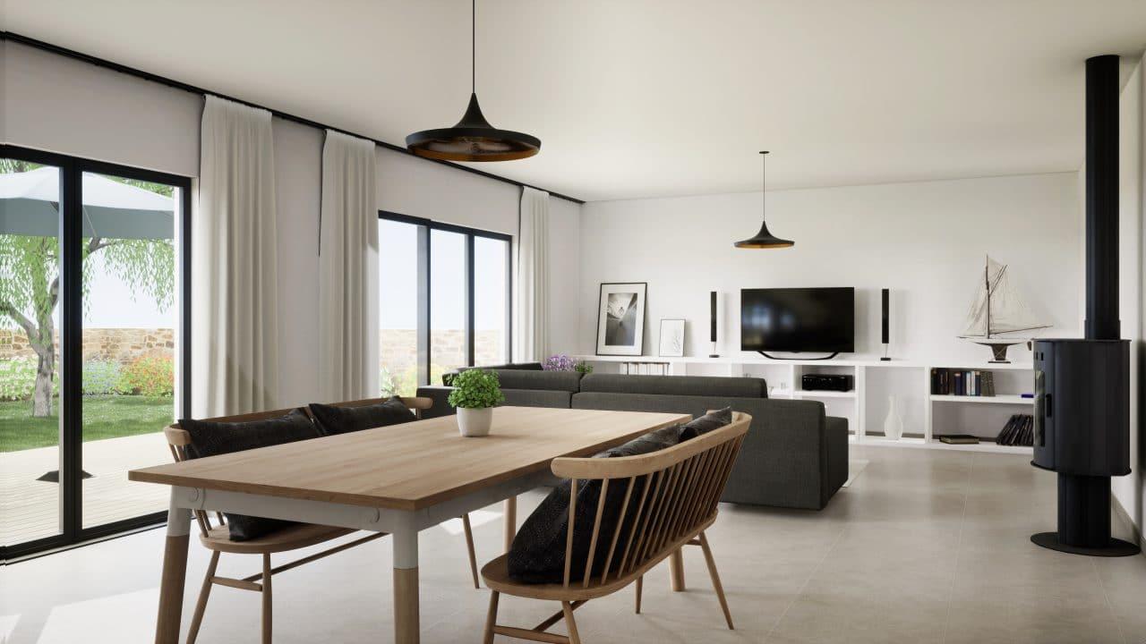 extension maison bourges : séjour lumineux