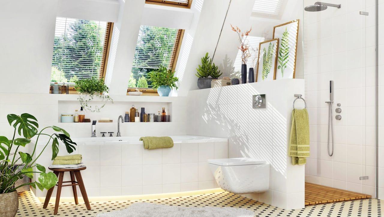 extension maison Rennes : salle de bain sous combles
