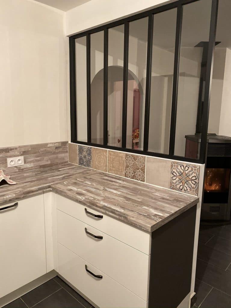 verrière et meubles de rangements - rénovation cuisine dans une maison à La Roche sur Yon