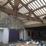En cours de travaux - rénovation d'une toiture - Conques