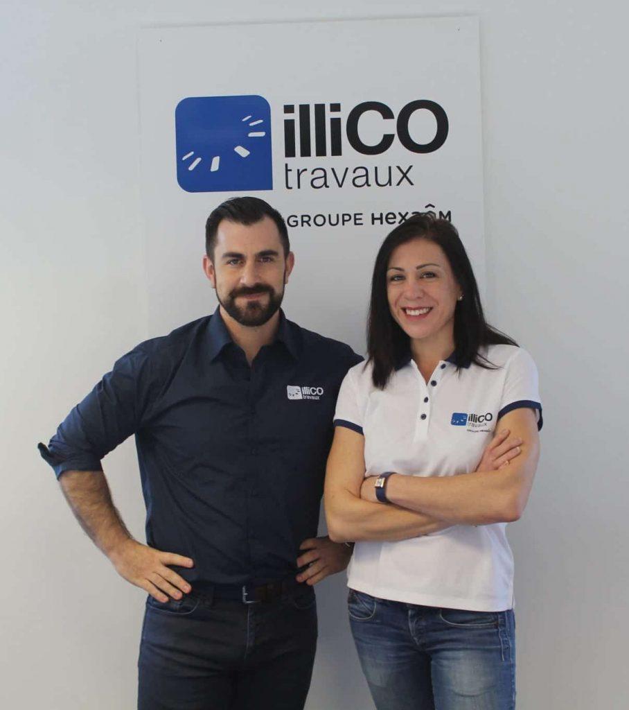 Laurent Siino et Julie Camus responsables de l'agence locale illiCO travaux Sens