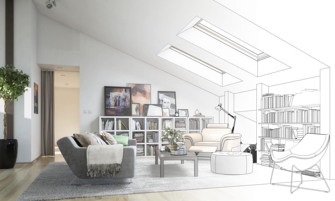 extension maison pontoise : séjour sous combles - extension verticale