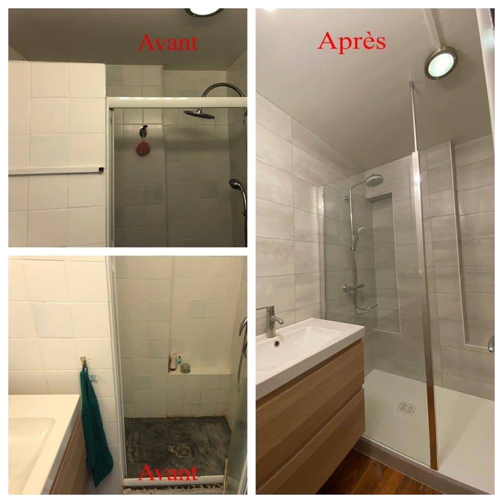 Avant / Après - rénovation d'une salle de bain à Grenoble
