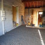 Nivellement du sol - transformation d'un garage en cuisine