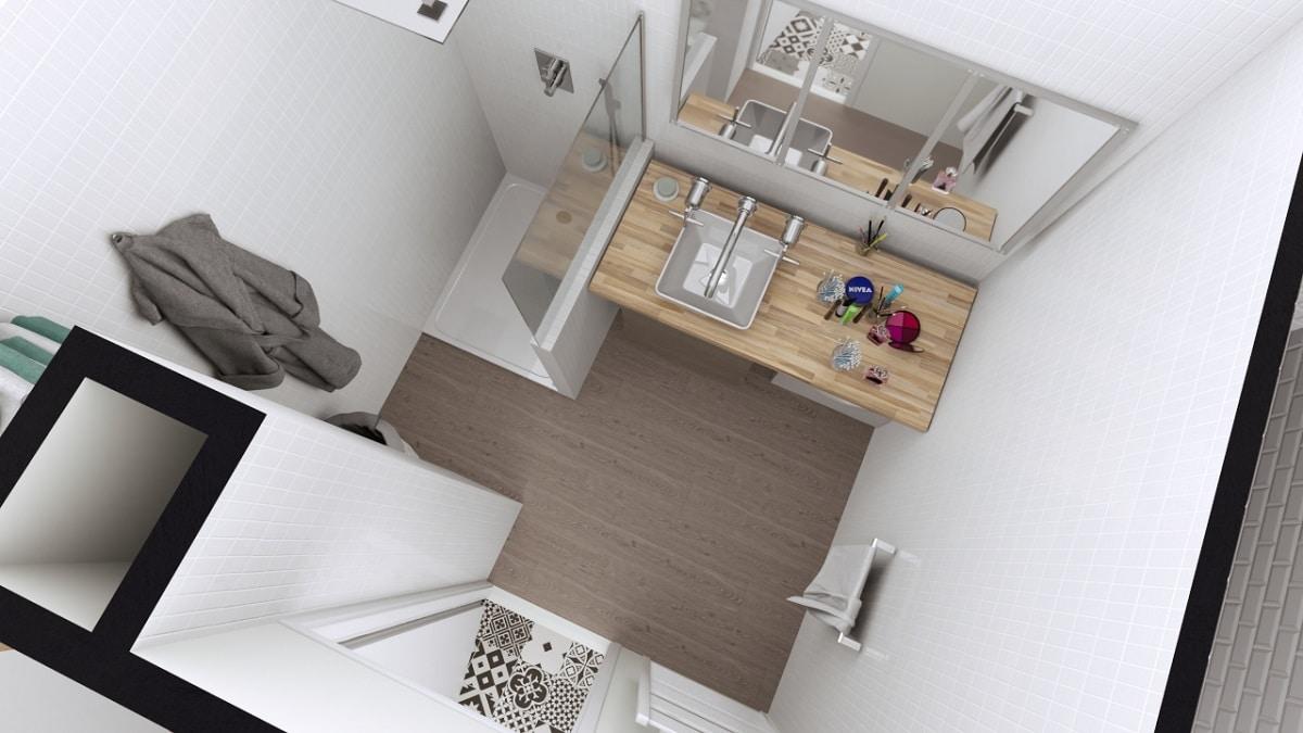 Plan 3D de la salle d'eau - rénovation d'un appartement à Grenoble