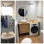 Avant / Après - espace vasque - rénovation d'un appartement à Grenoble