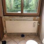 Mur sous fenêtre avant travaux - rénovation d'une cuisine à Echirolles (38)