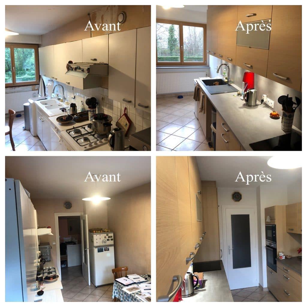 Avant / après travaux - rénovation d'une cuisine à Echirolles (38)