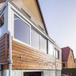 Vue extérieure sur les menuiseries - Création d'une extension bois à Lipsheim pour accueillir une cuisine