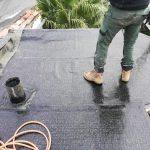 À ce stade le complexe pare vapeur, l'isolant et la première couche sont installés - rénovation d'un toit terrasse à Cognac
