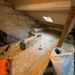 Pose du nouveau plancher - aménagement de combles à Saint Loubes