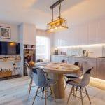 Vue générale la cuisine et du salon réaménagés - Rénovation d'une cuisine à Bischheim