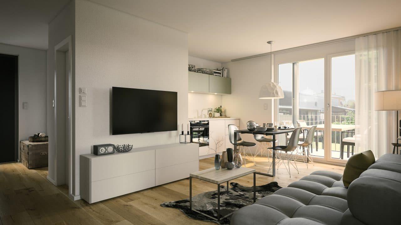 Rénovation appartement à Saint-Étienne par illiCO travaux : salon / séjour / cuisine