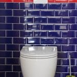 WC suspendu avec faïence aux murs - rénovation complète d'une maison à Thouars