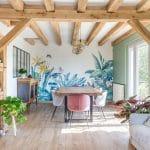 rénovation maison Olivet - salle a manger murs colorés