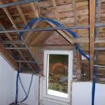 Passage des gaines et câbles - Rénovation de maison suite à un sinistre à Pléguien (22)
