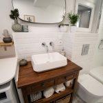 éviers sur meuble ancien rénové - Rénovation d'une salle de bain à Montpellier