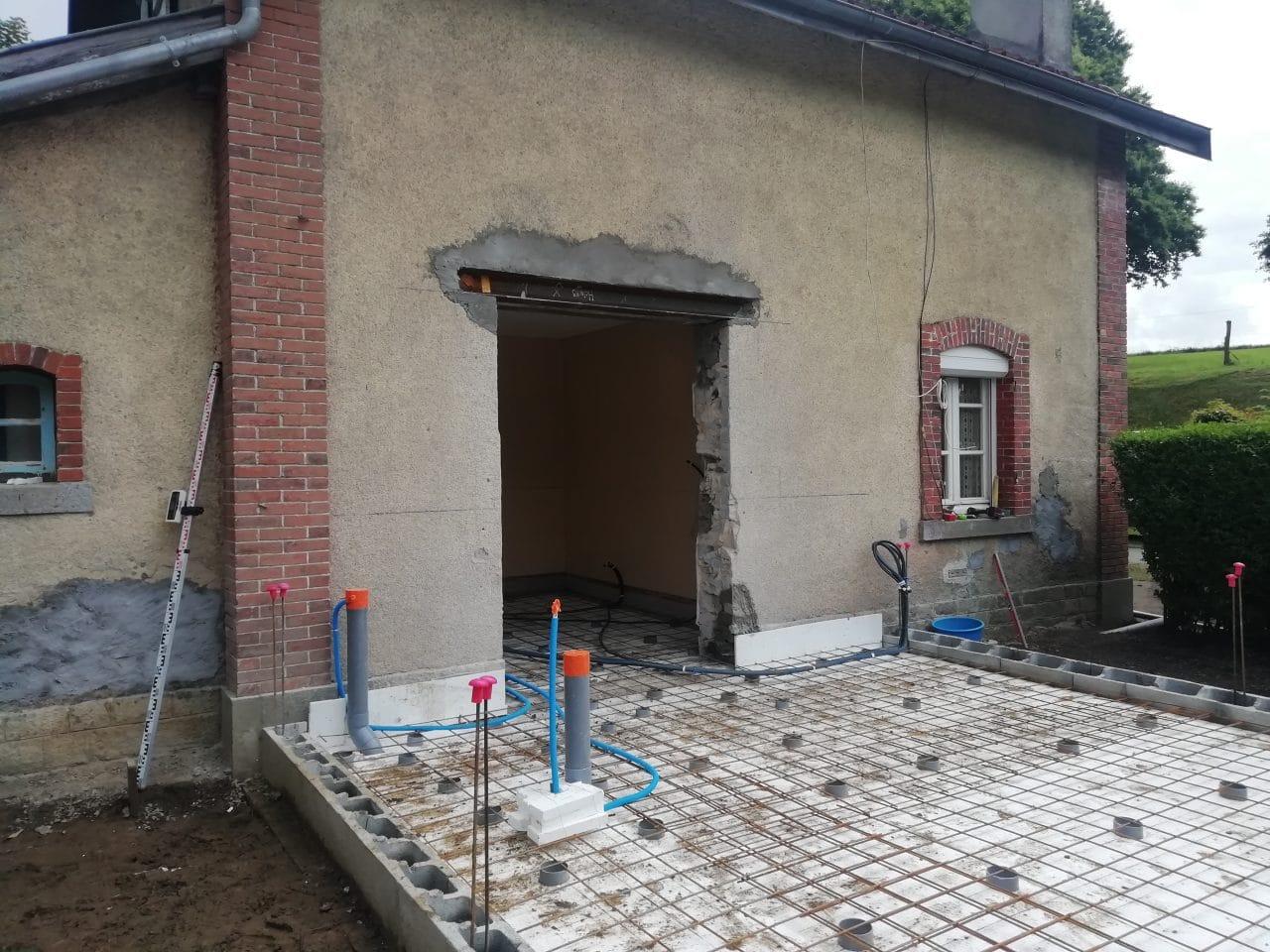 extension de maison à Lécousse - pendant travaux
