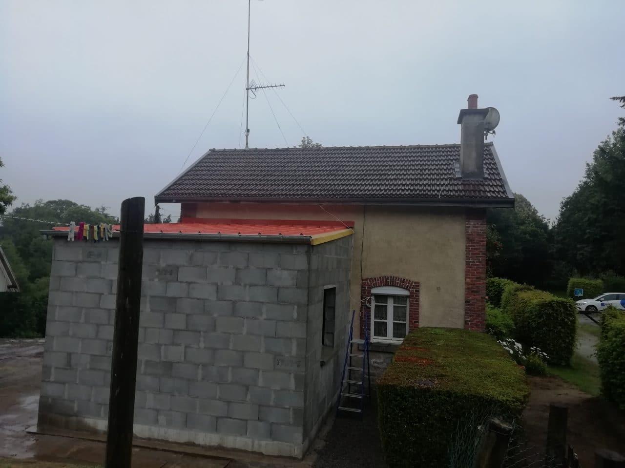 extension de maison à Lécousse - pendant travaux d'extension de maison